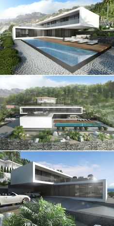 Villa von NG Archithects Architecture can be a Expensive Portion! Modern Architecture House, Futuristic Architecture, Facade Architecture, Modern House Design, Landscape Architecture, Futuristic Home, Container House Design, Villa Design, Facade House