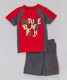 "FILA red & charcoal ""Future Draft Pick"" tee & shorts on Zulily."