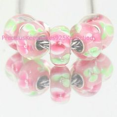 "*ONE~Murano Glass Bead ""Pink & Green Blossom"" Sterling Silver non thread  core #PreciousKeepsakes925Kollection #European"