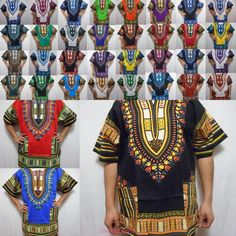 Dashiki Shirt Tribal African Blouse Men Top Shirt Women Rasta Hippie Blouse 1Siz #Handmade #Dashikiblouse