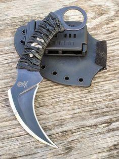 Paracord Wrap Handle, Close Quarters Combat, Angel Fire, Fu Dog, Tool Steel, Self Defense, Weapons, Blade, Custom Knives