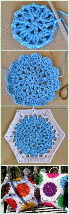 Motif Patterns Crochet Crochet Hexagon Motif Free Patterns Instructions Motif Patterns Crochet Mango Tree Crafts Crochet Square Pattern And Photo Tutorial. Crochet Blocks, Crochet Squares, Crochet Granny, Crochet Motif, Diy Crochet, Crochet Crafts, Crochet Doilies, Crochet Flowers, Crochet Stitches