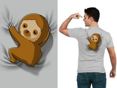 Slowly going where no sloth has gone before. Get the gray Sloth On Your Back t-shirt only at TeeTurtle! Nerdy Shirts, Funny Shirts, Alpacas, Funny Animals, Cute Animals, Baby Sloth, My Spirit Animal, Cute Babies, Cartoon