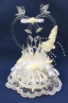 SALE Blown Glass Wedding Cake Topper by TreasureofMemories on Etsy