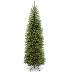 This Kingswood Fir Christmas tree features a slender, pencil-thin shape, making it an ideal choice for display in tight corners and small spaces. Hinged branch construction allows quick assembly so you can readily decorate with your favorite ornaments.