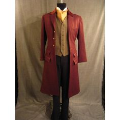 Costumes/19th Century/Men's Wear/Late 19th Century Men's/Late 19th C Men's Coats & Suits/09015583 Coat, frock, burgandy w velvet collar C40 found on Polyvore