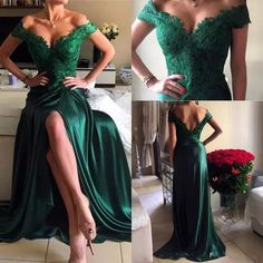 Classy Prom Dresses, sexy prom gowns off the shoulder lace prom dress long hunter green slit lace evening dress modest formal dress Prom Dresses Long Cocktail Dresses Evening Wear, Cheap Cocktail Dresses, Sexy Evening Dress, Cheap Evening Dresses, Evening Cocktail, Evening Party, Evening Gowns, Modest Formal Dresses, Elegant Bridesmaid Dresses