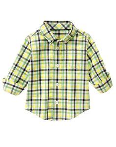 Gymboree Toddler Boy Spring Green Plaid Shirt