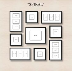 Picture Frames On Wall Layouts. Spiral Gallery Wall Layout Tip Start With Placing The Center Frame And Then Picture Frames On Layouts M Organisation Des Photos, Organization, Images Murales, Photowall Ideas, Gallery Wall Layout, Gallery Walls, Frame Gallery, Gallery Gallery, Ikea Gallery Wall