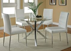 contemporary Modern Round Glass Kitchen Table Set with comfort chairs