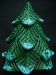 Ceramic Christmas Tree Green Pine With Snow Accents on Etsy, $9.00