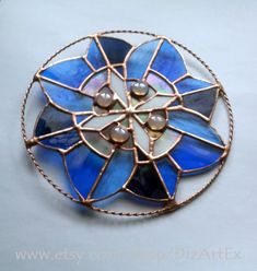 Stained Glass Pendant Panel Winter Flower. Vitrage by DizArtEx #vitragependant #pendantvitrage #suncatcher