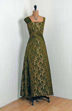1950's  Metallic-Gold & Olive-Green Roses  Silk-Brocade Dress