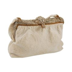 1940s Caviar Beaded White Evening Bag with Enamel and Rhinestone Frame | From a collection of rare vintage handbags and purses at https://www.1stdibs.com/fashion/accessories/handbags-purses/