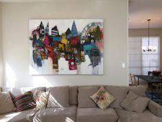 "Bridging the gap 57 x 77"" acrylic on canvas."