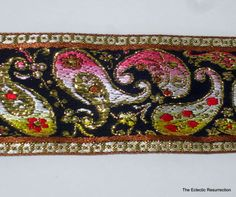 Vintage 1970s Embroidered TrimMetallic Paisley India 62 by linbot1, $5.00