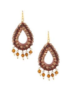 Adorable Tear Drop Style Brown Lac Earrings | Rs. 330 | http://voylla.com