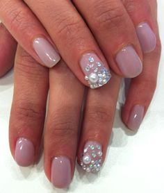Crystals and Pearls on Bio Sculpture Gel colour combination: #154 - Bette & #87 - Strawberrry French on top.