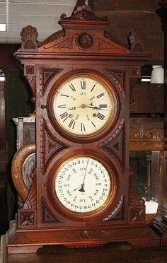 Welch Spring  Co. Audran, B.W. Double Dial Calendar Clock