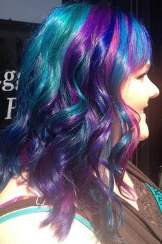 purple, blue, and green hair