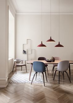 GUBI // 1965A Pendant, Beetle Dining Chair, Masculo Chair, Dédal Shelf, Gubi Dining Table
