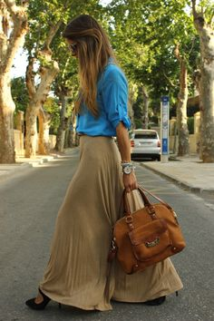 tucked in blouse, long skirt, great shoes