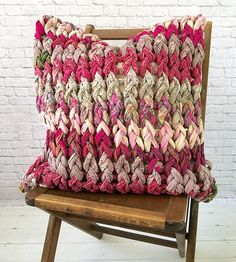 Berry Chunky Knit Cushion - Re-purposed saris are intricately woven to create these on-of-a-kind cushions.  Each one is as creative as the artisan that weaves them and provides dignified work for women in Bagladesh who were rescued from human trafficking. Does not include insert.
