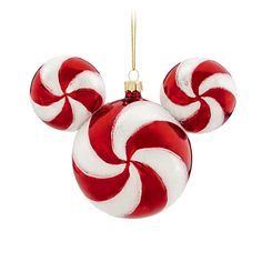 Disney Peppermint Twist Mickey Mouse Icon Ornament, Red and White - Item No. 7509002522521P, $16.95, 6'' W x 2 1/4'' D
