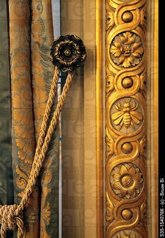 """The details of Le Grand Salon in Shangri-La Hotel Paris Paris France. lovely guilloche pattern with paterae and bumble """"BEE""""motif. No doubt, Napoleon inspired. Shangri La Hotel, Passementerie, Paris Hotels, Bees Knees, Paris France, Paris Paris, Queen Bees, Architecture Details, Drapery"""