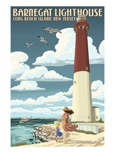Barnegat Lighthouse Long Beach Island, New Jersey - Vintage Poster - Invite Inspiration New Jersey, Jersey Girl, Barnegat Lighthouse, Lighthouse Art, Lighthouse Photos, Nj Shore, Long Beach Island, Vintage Travel Posters, Strand