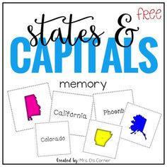 US State Capital Memory Matching Game (6 Versions)