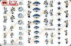 55pcs Dallas Cowboys Mickey Nail Art Decals Stickers Transfers. NFL DCM003-55