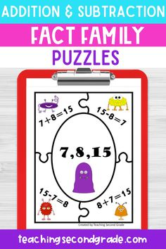 If you are looking for fun and engaging addition and subtraction fact family puzzles or worksheets for your 1st, 2nd, or 3rd grade students, you'll love these fact family puzzles! Math can be fun with the right materials. Your students will enjoy learning in your classroom without realizing it. #mathactivities #mathgames #mathpuzzles #factfamily #factfamilypuzzles #additionpuzzles #subtractionpuzzles #factfamilyworksheets #factfamilyactivities Teaching Second Grade, 1st Grade Math, Maths Puzzles, Activities For Kids, Math Assessment, Fact Families, Math Facts, Addition And Subtraction, Early Learning