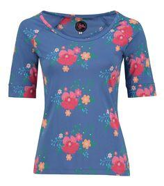 Tante Betsy Raglan Shirt Poppy  Blue floral print tshirt top blauw bloemen print
