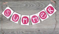 Summer Banner, Garland, Summer Bunting, Photo Prop www.letterkay.etsy.com #letterkay #etsy - Letter Kay $14.00