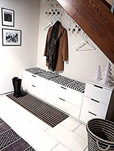 because in real life, of course, our Flur wardrobe never looks so tidy . - Home Decor -DIY - IKEA- Before After Home, Hall House, Ikea Nordli, White Furniture, Hall Wardrobe, House Interior, Hall Decor, Ikea, Home Deco