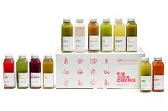 A choice of cleanses come in 3, 5 and 7 day durations with a total of 12 packaged juices. Each Juice Cleanse is designed to promote overall health, energy and happiness. The brand language is a development and extension of the Juice Truck identity that uses light humour and direct, no-fuss language and iconography to communicate their products offer.