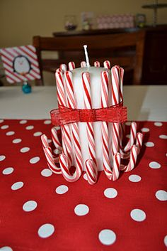 DIY candy cane candles