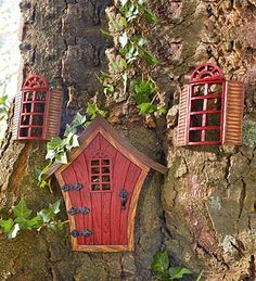 Fairy Garden Door + Windows  #fairy #garden #fairies #garden #kids #children #imagination #creative #magic #faerie #enchanted #miniature #moss