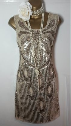 Roaring 20s wedding birthday party ladies gold sequin mini dress charleston flapper great gatsby costume size UK 14 USA 12 EUR 42