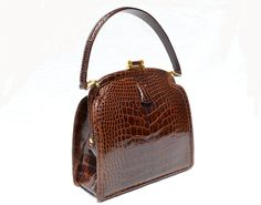 Stunning Chocolate Brown 1950's-60's LUCILLE de PARIS Alligator Belly Skin Handbag - Vintage Skins