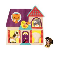 Ce puzzle sonore sur le thème des animaux de compagnie, aidera votre enfant à reconnaître le cri des différents animaux : chien, oiseau, hamster, chat, cheval. En posant la pièce de puzzle à la bonne place, le cri de l'animal correspondant retentit. Grâce aux tenons en bois, la prise en main des pièces de puzzle est plus facile.