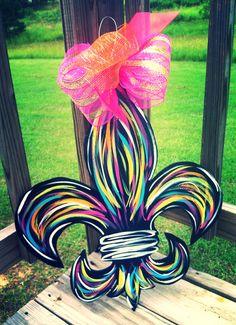 Colorful Fleur de lis by CrazyDaisyDoorDecor on Etsy, $45.00