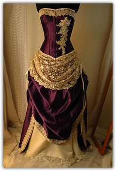 Antique ivory and purple wedding gown