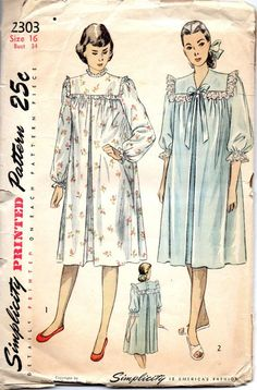 1940s+simplicity+patterns | Simplicity 2303 1940s Hospital or Maternity Gown Pattern Misses Night ...