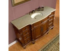 Silkroad Exclusive Transitional Kashmir Gold Granite Bathroom Vanity, Single Sink - 60 in. Single Sink Bathroom Vanity, Bathroom Vanity Cabinets, Antique Vanity, Ceramic Sink, Bathroom Essentials, Traditional Bathroom, Bath Vanities, Sink Faucets, Bathroom Styling