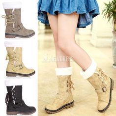 2014 New Fashion Women Flat Low Heel Lacing Fur Lined Snow Winter Calf Boots Cotton-padded