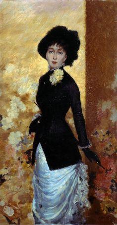 "Giuseppe De Nittis (1846–1884)  ""Figura di donna - Leontine, la moglie dell'artista"" 1880  Barletta - Pinacoteca Giuseppe De Nittis"