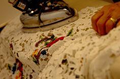 Ironing the lace - Oscar de la Renta - Spring 2013 #odlr (photo by Xavi Menós)