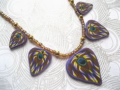 Peacock Feather Polymer Clay Necklace £23.00
